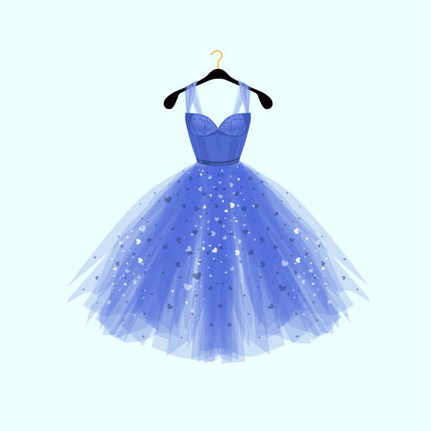 beautiful blue dress for special event. vector fashion illustration - prom fashion stock illustrations, clip art, cartoons, & icons
