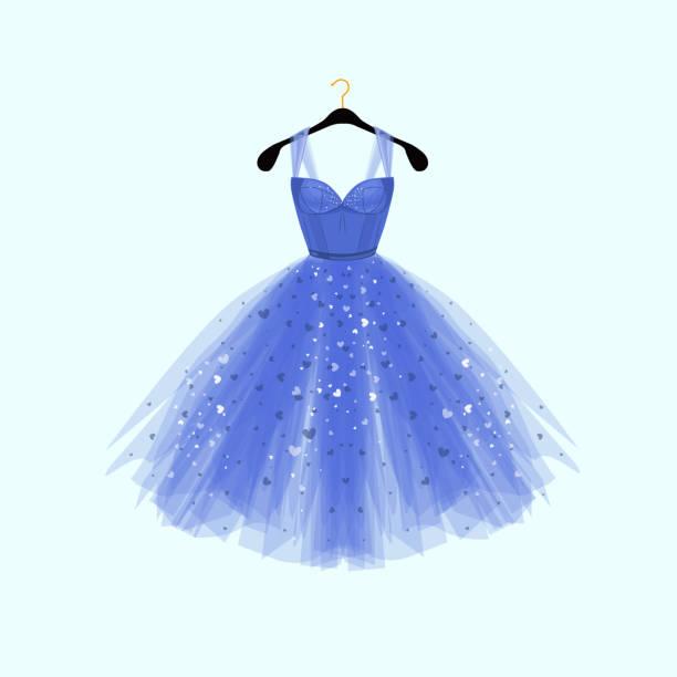 ilustrações, clipart, desenhos animados e ícones de lindo vestido azul para evento especial. vector a ilustração de moda - baile de graduação