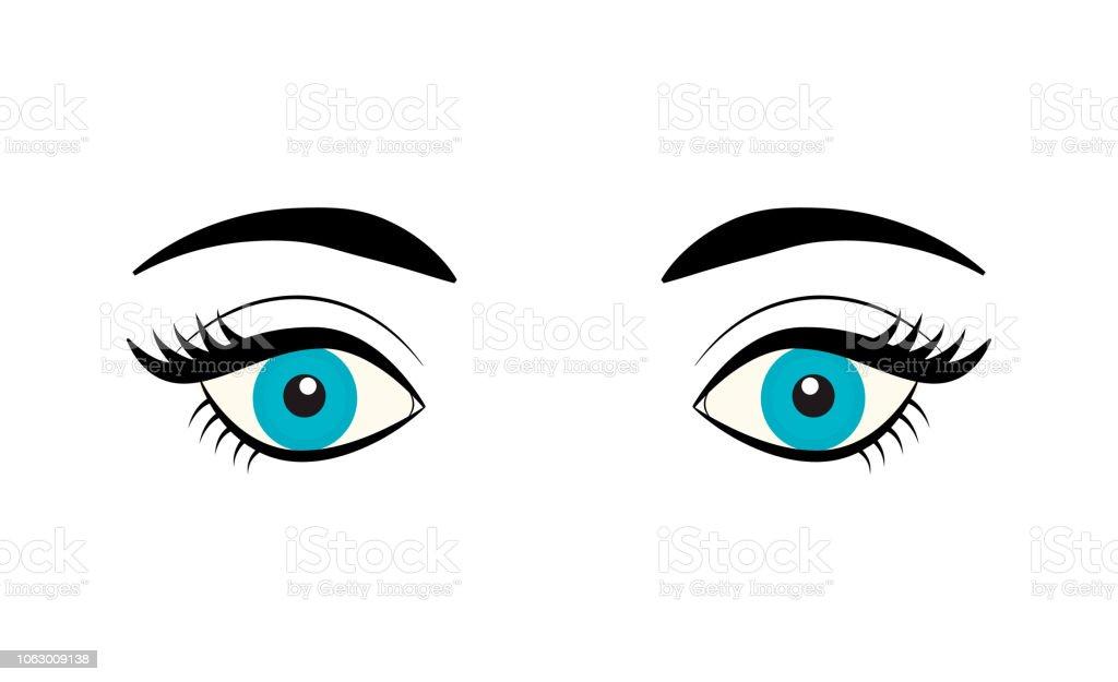 Beautiful Blue Female Eye With Eyelashes And Eyebrows Isolated On