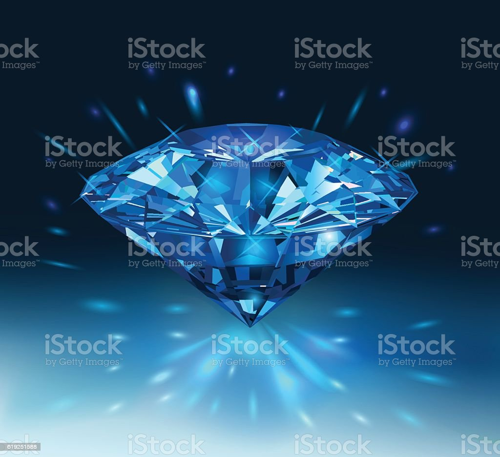 Beautiful blue gemstone sapphire on a darck blue background. vector art illustration