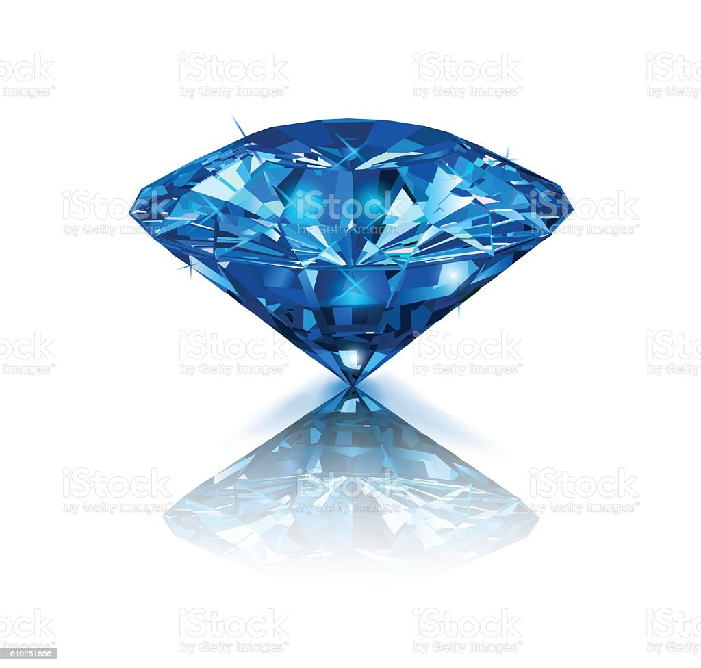 Beautiful blue gemstone sapphire on white background. vector art illustration