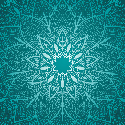beautiful blue mandala floral background