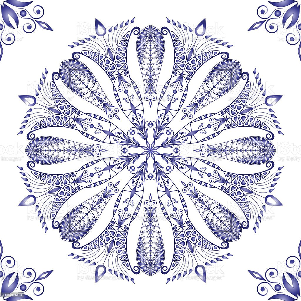 Beautiful blue pattern. Seamless. 2 royalty-free stock vector art