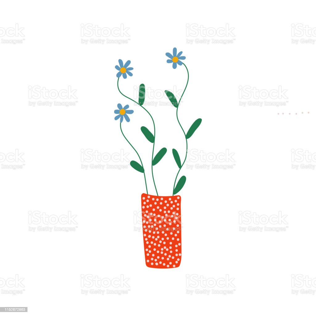 Beautiful Blue Spring or Summer Flowers in Red Vase, Bouquet of Fresh...
