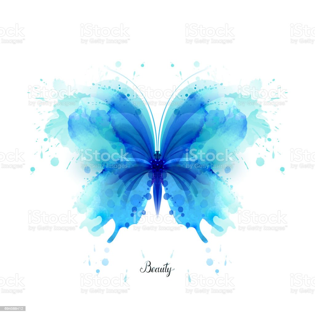 Beautiful blue watercolor abstract translucent butterfly on the white background. vector art illustration