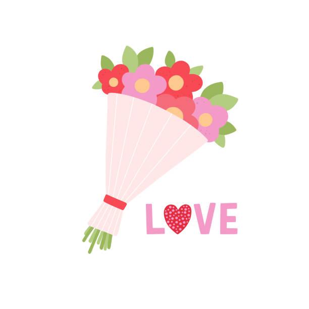 美しいブーケ結婚式や誕生日の贈り物はベクトル白い背景のイラストです。愛の文字と花の聖バレンタインのカード - 花束点のイラスト素材/クリップアート素材/マンガ素材/アイコン素材
