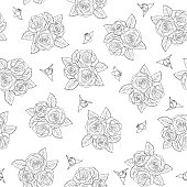 beautiful bouquets of roses Seamless pattern.