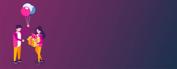 schöne freundin präsentiert ein geschenk an ihr hübsches mädchen und lächelt. ballon und geschenkbox. kann für web-banner, infografiken, heldenbilder verwendet werden. flache isometrische vektordarstellung. - swag stock-grafiken, -clipart, -cartoons und -symbole