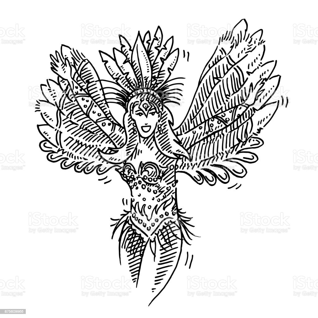 Beautiful Brazilian Carnival Dancer Drawing vector art illustration