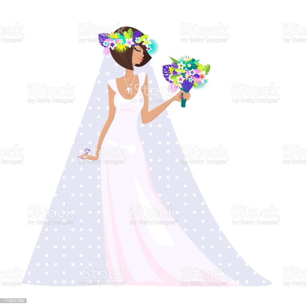 明るい熱帯の葉や花から花束を保持する美しい花嫁長い白いウェディングドレスブライダルベール大きな結婚指輪夏の花のモチーフからコロナのシルエットベクター イラスト 1人のベクターアート素材や画像を多数ご用意 Istock