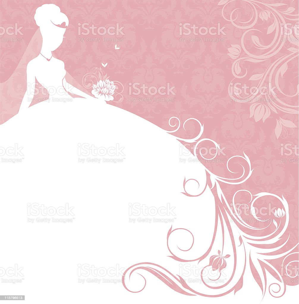 beautiful bride in pink banner vector art illustration