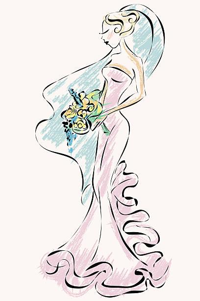 schöne braut im hochzeitskleid - rosenhochzeitskleider stock-grafiken, -clipart, -cartoons und -symbole