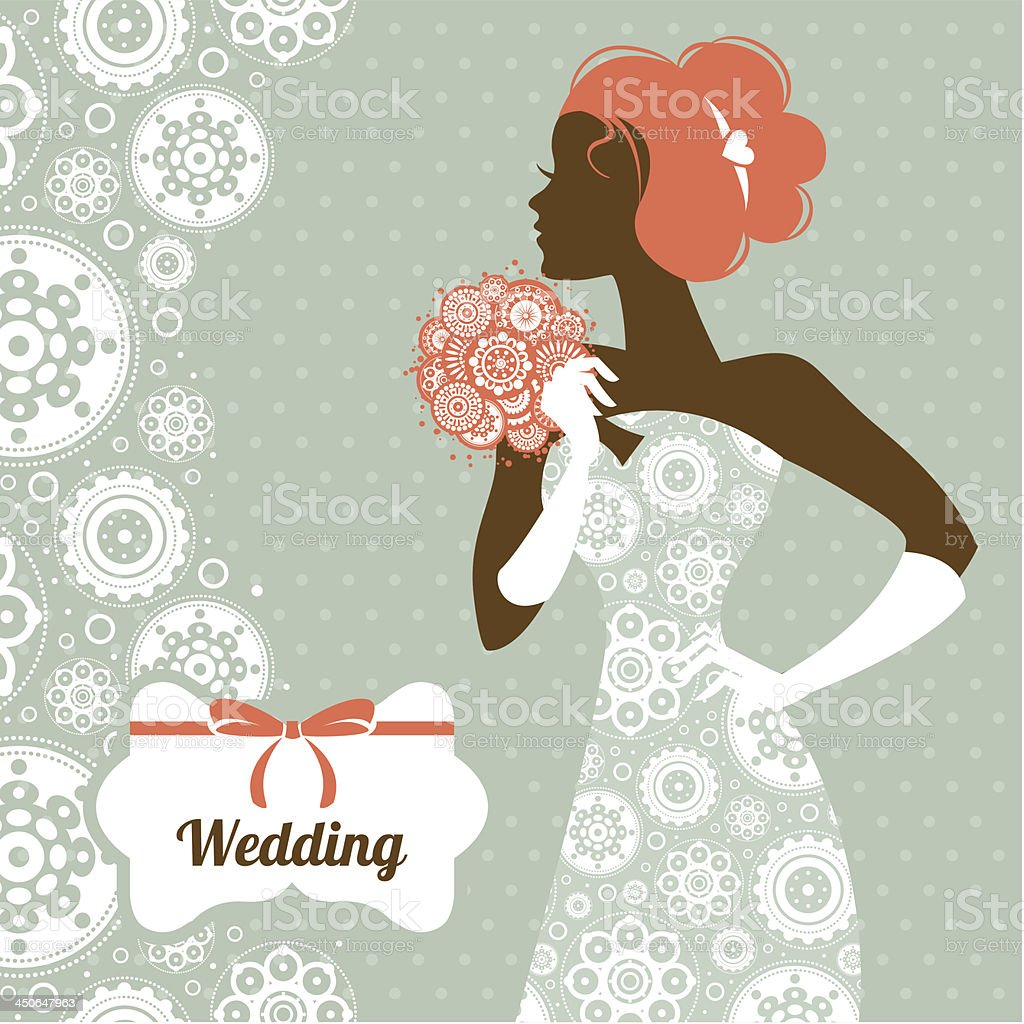 Beautiful bride silhouette royalty-free stock vector art