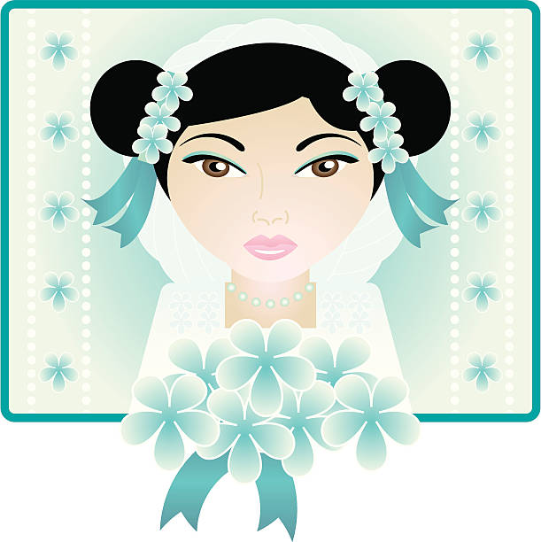 """Beautiful Bride (Lilia) """"Beautiful bride with side buns, veil, pearls and flowers on blue. Background and flowers are on separate layers. Background layer can be turned off for use as an isolated image. Zip file contains Illustrator CS2 ai file and Illustrator 8.0 eps file."""" kathrynsk stock illustrations"""