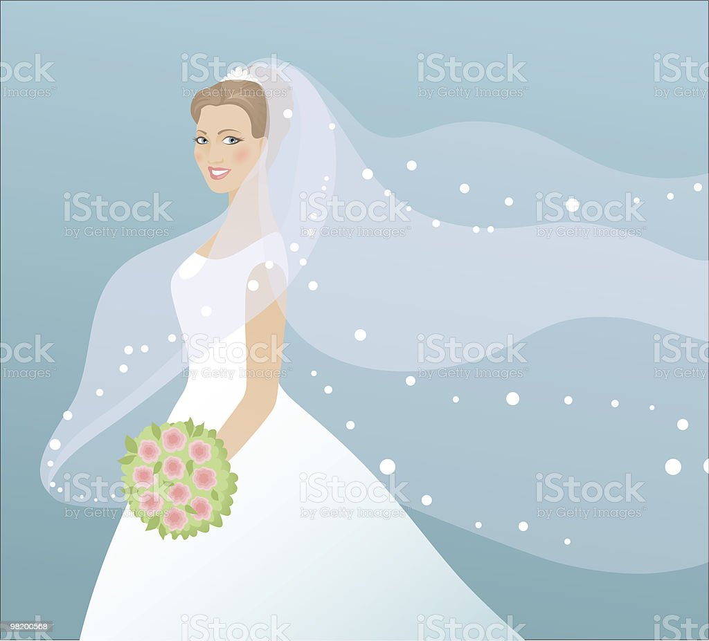 Beautiful bride with bouquet vector art illustration