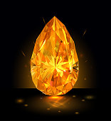 Beautiful bright amber diamond  isolated on black background. Vector illustration.