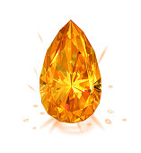 Beautiful bright amber diamond  isolated on white background. Vector illustration.