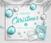 Beautiful bright background with Christmas decoration. Vector banner of happy new year 2019 with blue and silver balls, gifts, christmas tree branches and ribbons.