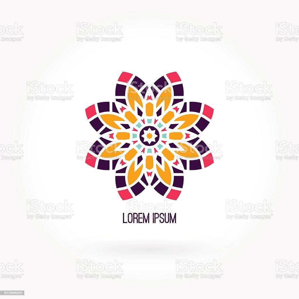 Beautiful bright juicy company logo. Kaleidoscope flower. Simple mandala logo. vector art illustration
