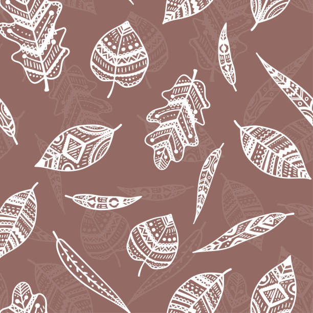 Beautiful brown mocha ornamental leaves seamless pattern, colorful, hand drawn seasonal background, great for fall autumn fashion prints, wallpapers, banners, textiles - vector surface design vector art illustration