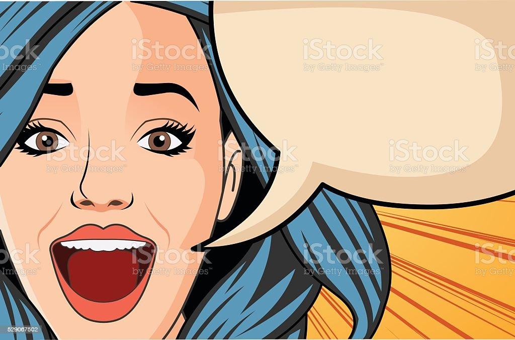Beautiful brunet retro surprised woman screaming vector art illustration