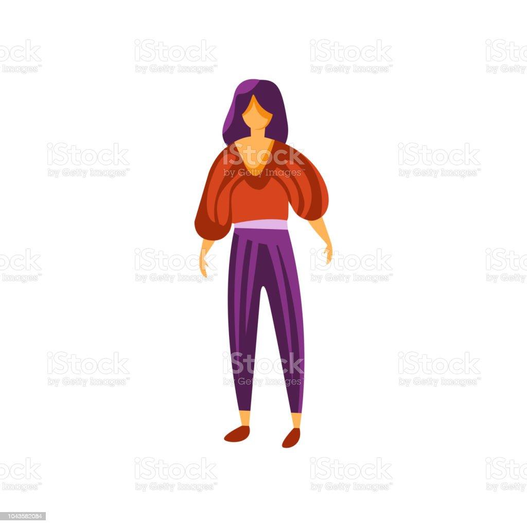 e27ef873f Ilustración de Hermosa Chica Morena Vestida Con Pantalones Y Blusa ...