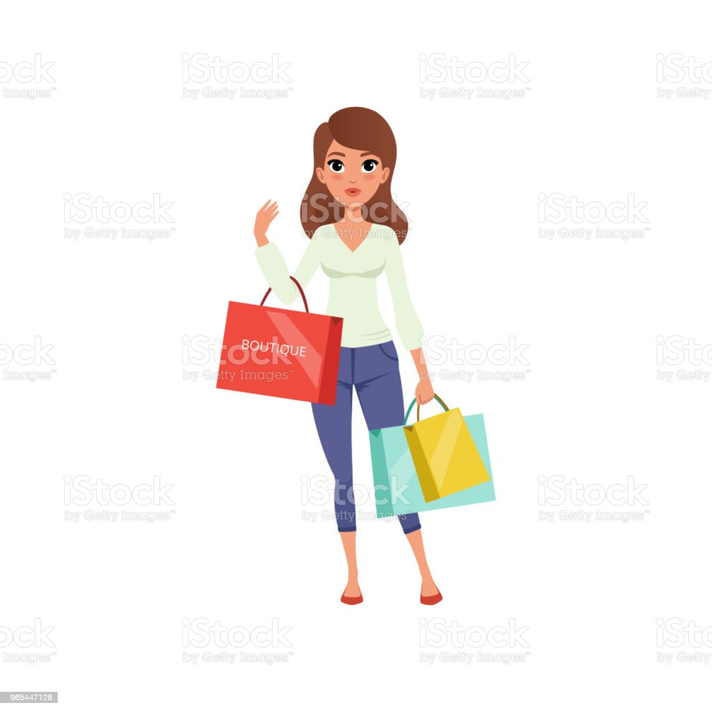 Beautiful brunette woman holding shopping bags from boutique. Sale in store. Young girl in blouse and pants. Flat vector design beautiful brunette woman holding shopping bags from boutique sale in store young girl in blouse and pants flat vector design - stockowe grafiki wektorowe i więcej obrazów biały royalty-free