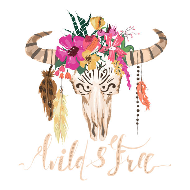 schöne bull skull, handgezeichnete, aquarell vektorgrafik. scull mit blumen kranz und hängenden federn - perlenstrauß stock-grafiken, -clipart, -cartoons und -symbole