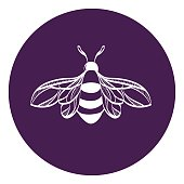 Beautiful bumblebee. Bee icon vector.
