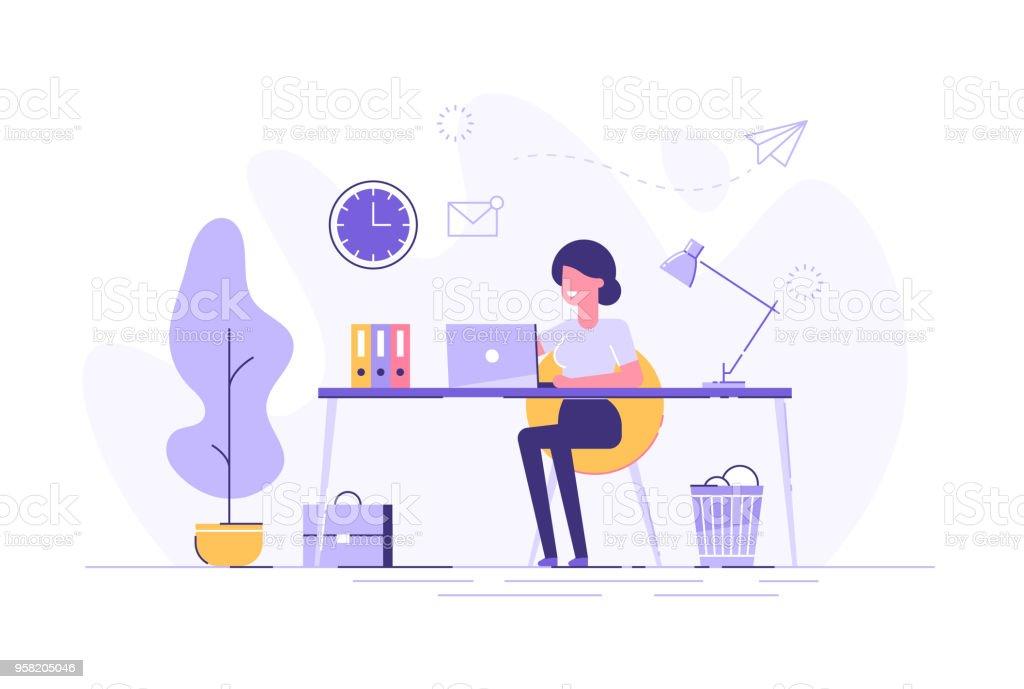 Hermosa empresaria usando laptop sentado en su escritorio. Interior de trabajo de oficina. Ilustración de vector plano. - ilustración de arte vectorial