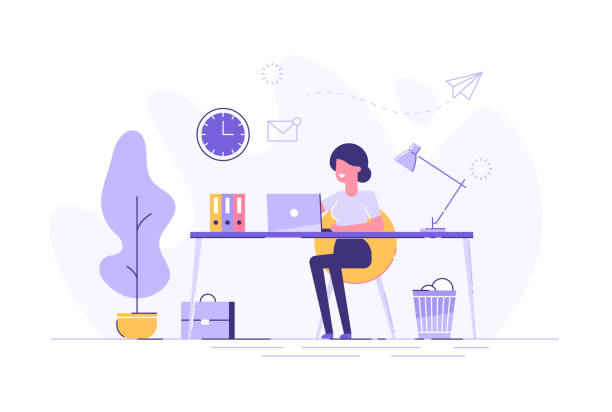 beautiful businesswoman using laptop while sitting at her desk. office workplace interior. flat vector illustration. - office stock illustrations