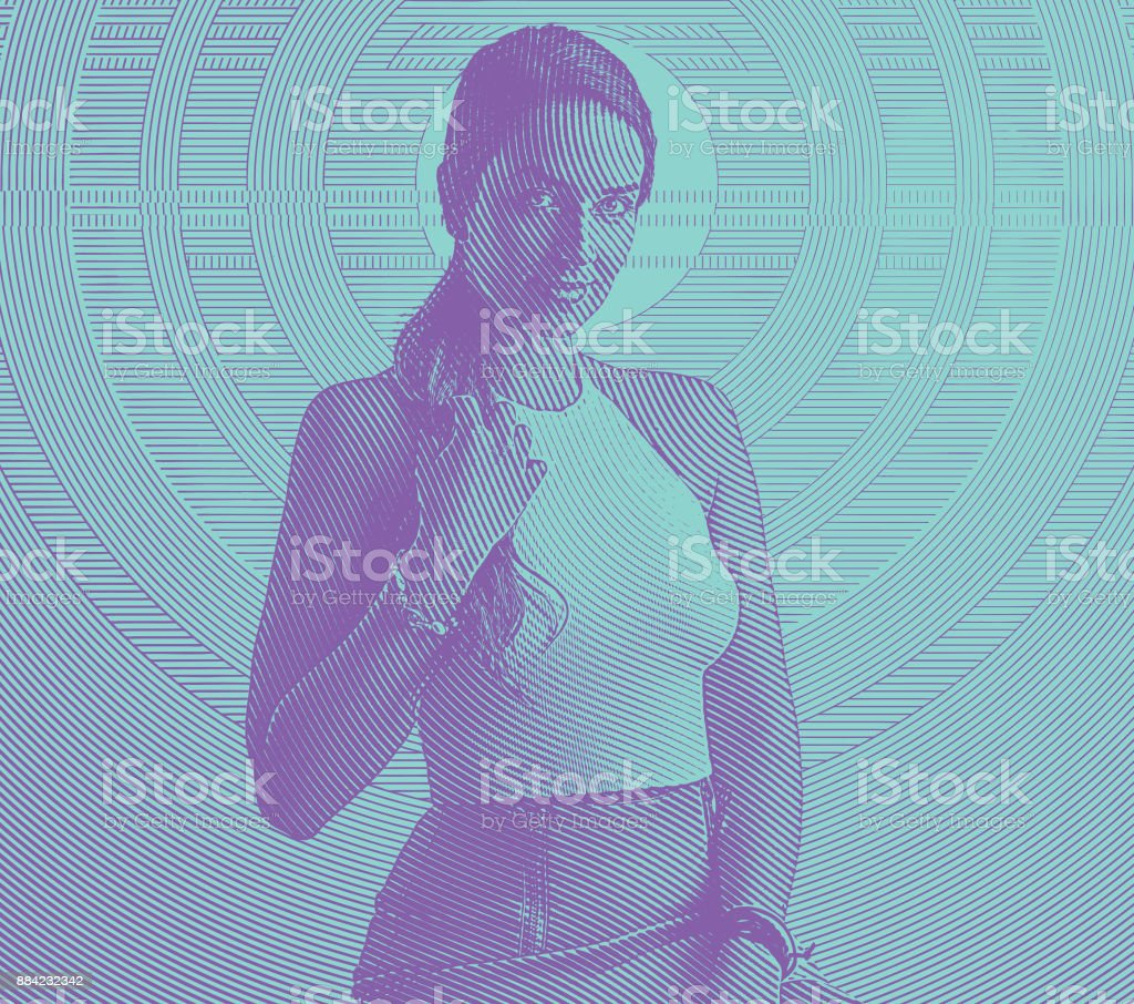 Beautiful businesswoman wearing crop top, vector art illustration