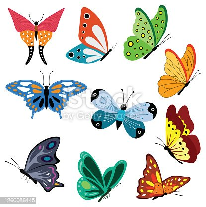 Collection of colorful Butterflies designs for logos, artwork