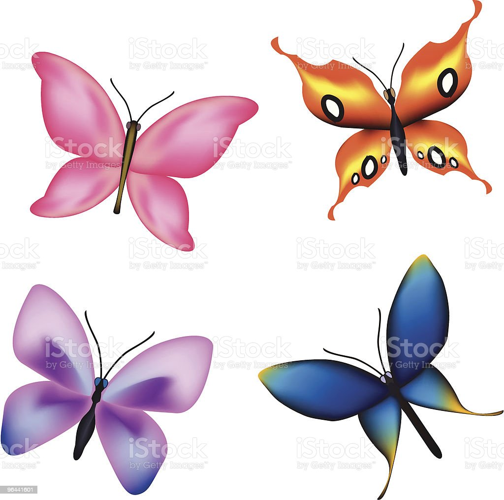 Belas borboletas - Vetor de Amarelo royalty-free