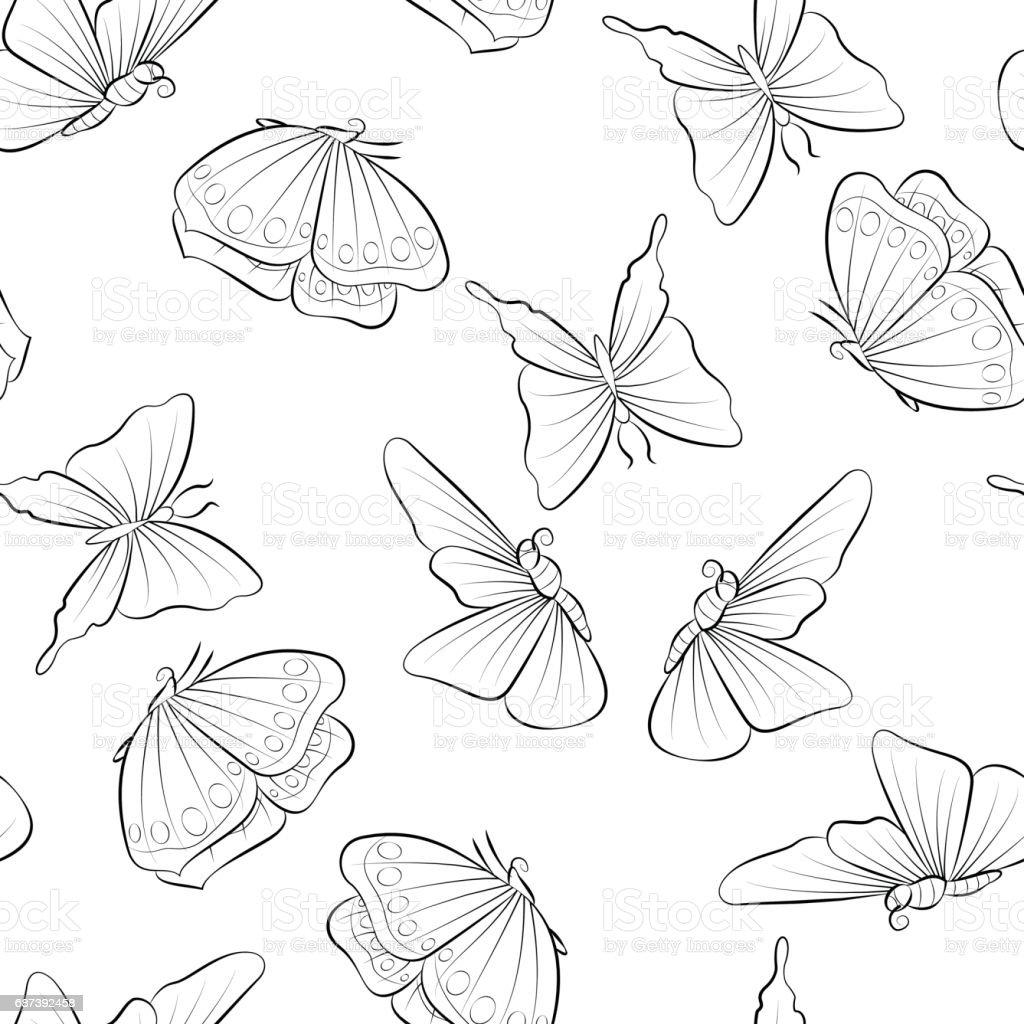 Güzel Kelebek Uçan Boyama Kitabı Böcek Ile Seamless Modeli Stok