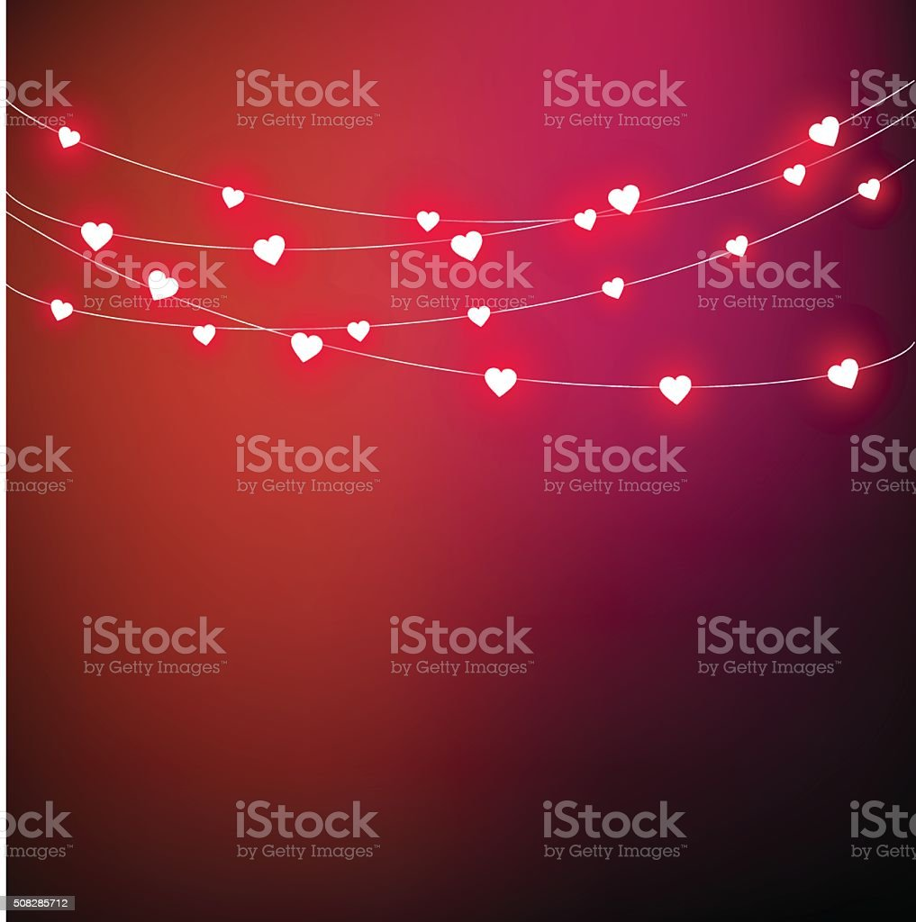 Beautiful card for Valentine's Day with heart-shaped lights vector vector art illustration