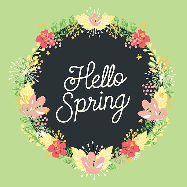 schöne karte mit einem floralen kranz - hello stock-grafiken, -clipart, -cartoons und -symbole