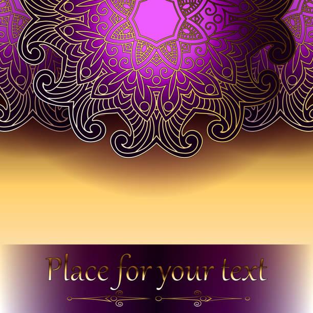 Schöne Karte oder Einladung mit einem kreisförmigen Muster in die indische, Arabische, islamische, türkischen Stil mit orientalischen Motiven. – Vektorgrafik