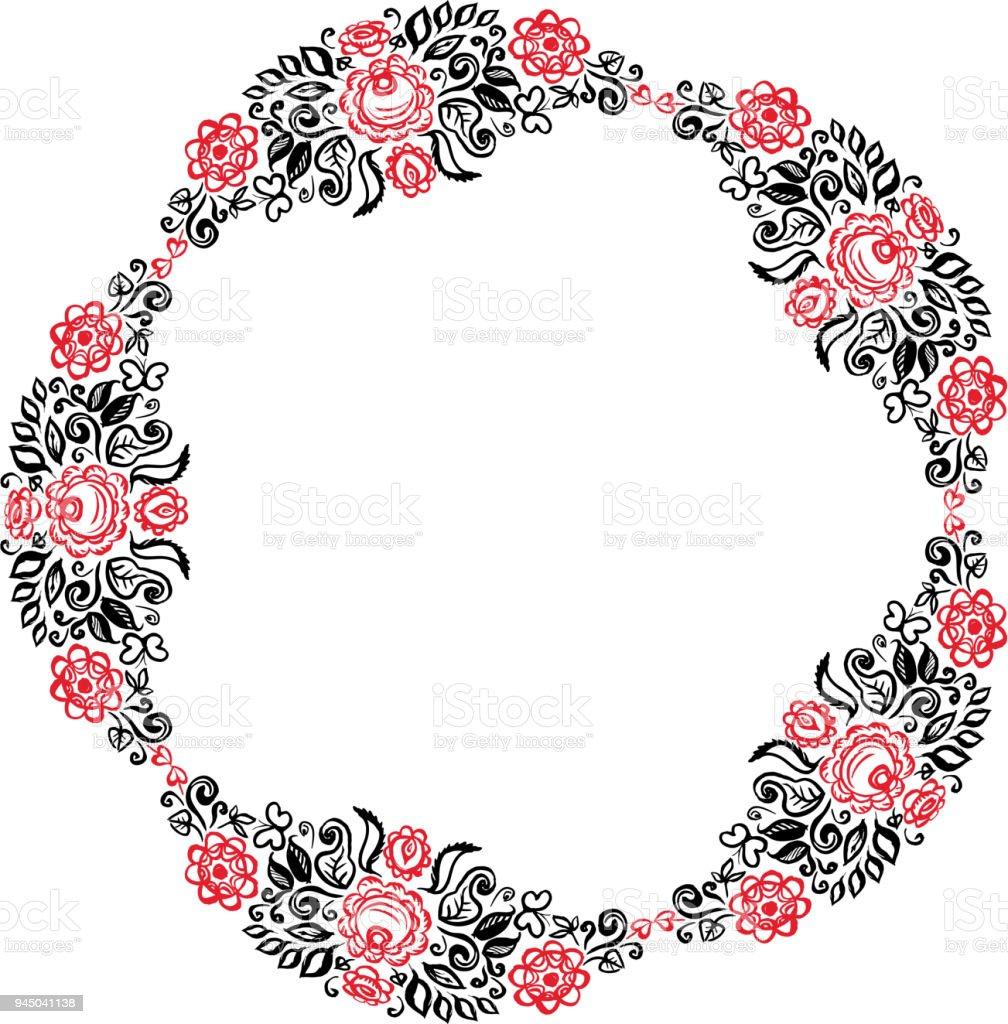 11d0da01e Lindo cartão com uma coroa de flores de verão redondo de ornamento floral  Vintage elegante convite