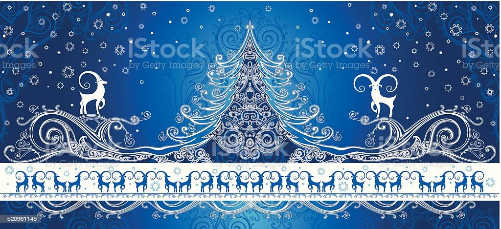 Beautiful card with Christmas goats. vector art illustration