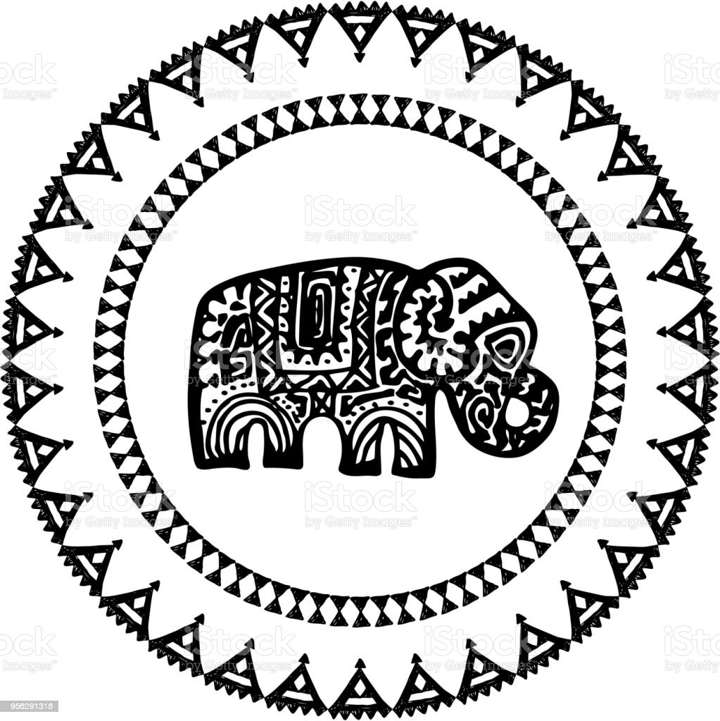 Ilustración de Hermosa Tarjeta Con El Elefante Indio Con Adornos ...