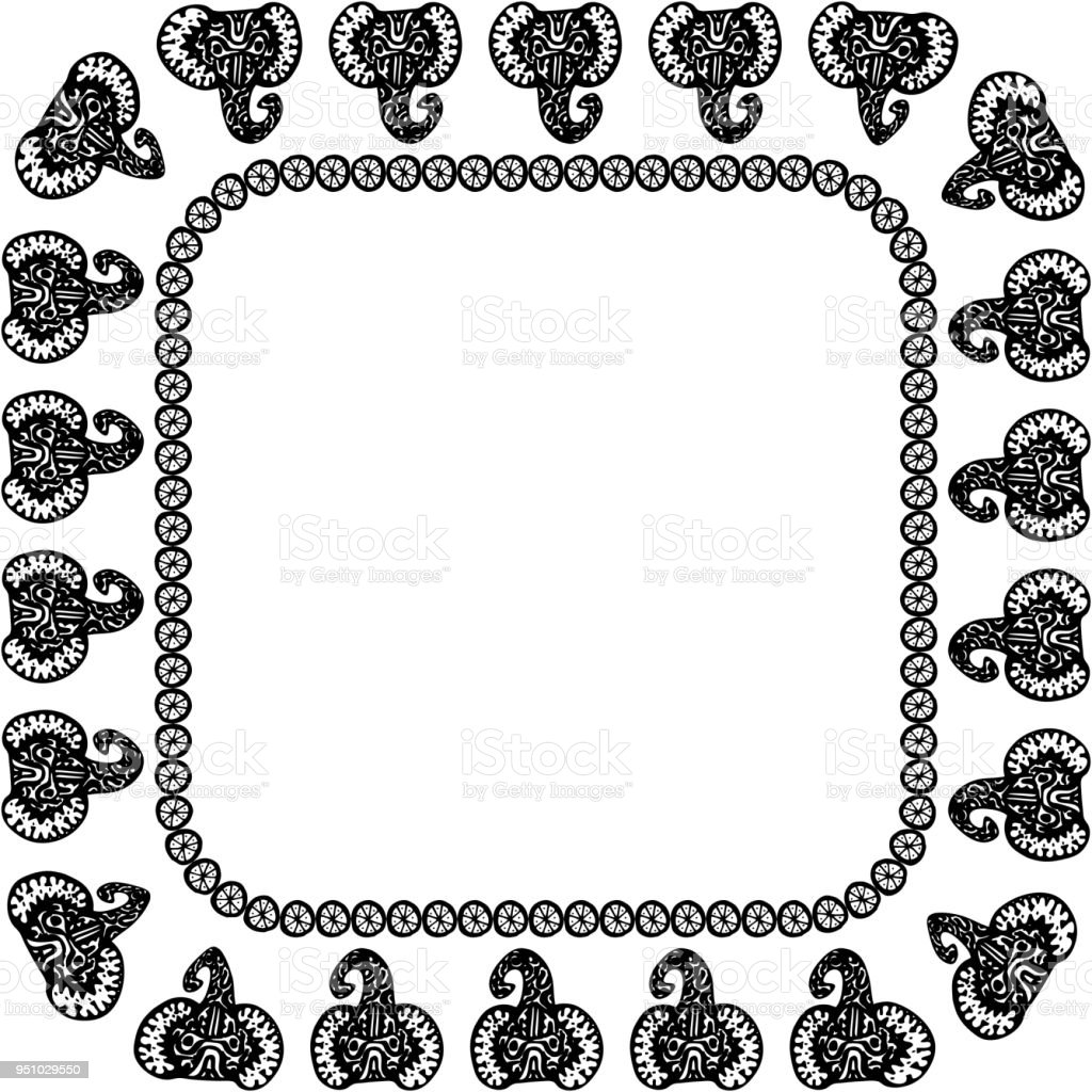 Beautiful Card With Elephant Indian With Ornaments Square Frame For ...