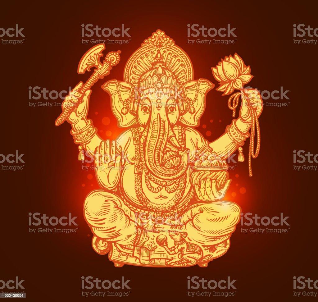 Beautiful card with God Ganesha. Vector illustration