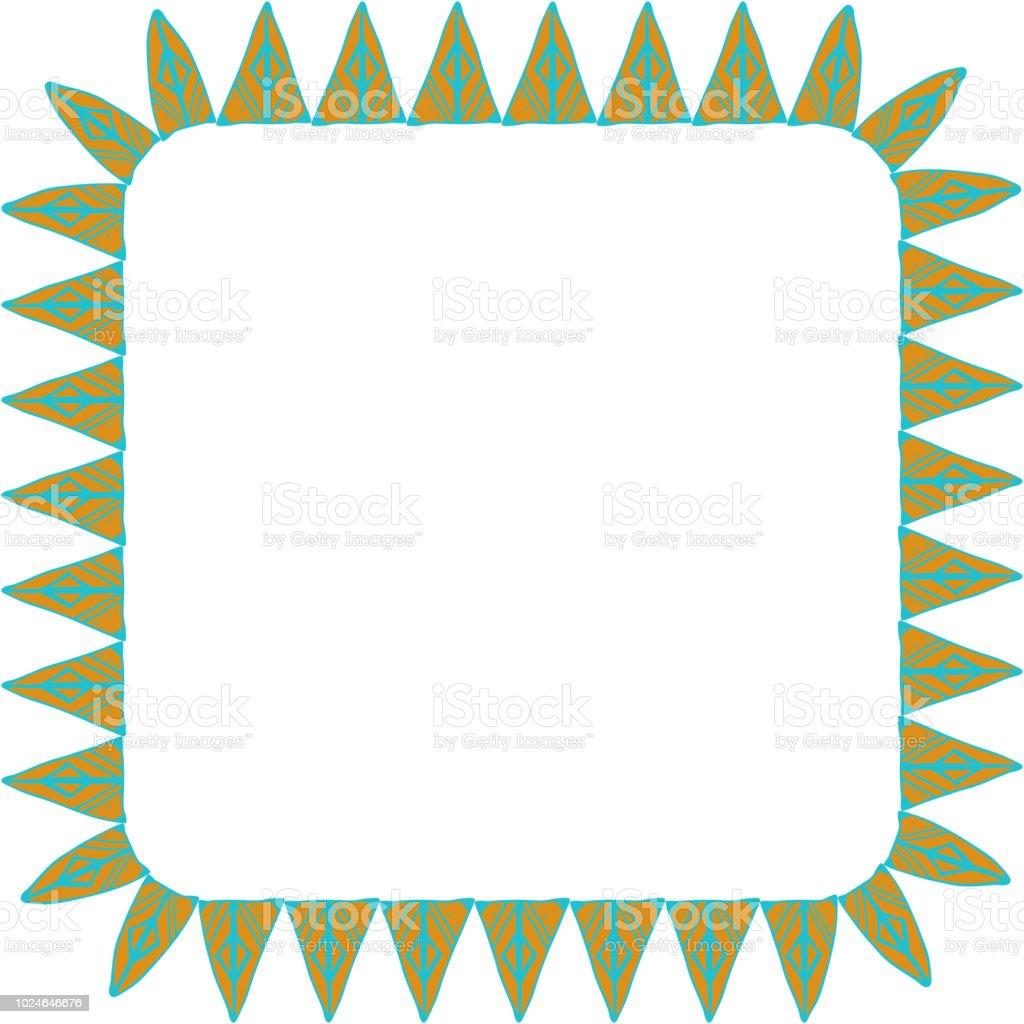 Comment Faire Du Jaune Moutarde belle carte avec des ornements en zigzag natives cadre carré