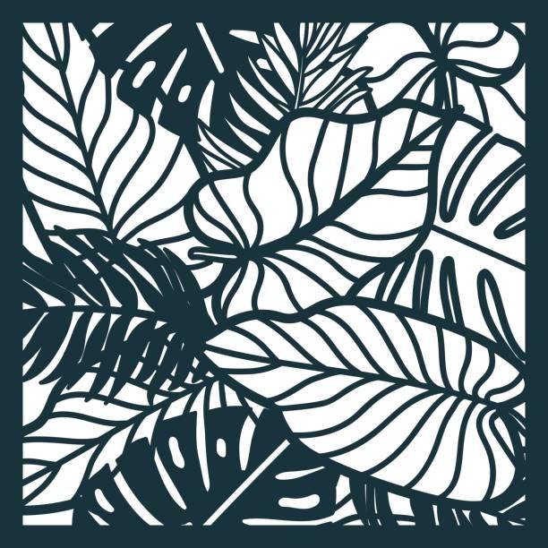 schöne karte mit palme blätter. regenwald-motiv. vektor-vorlage für das laserschneiden. kann als einladung, umschlag, grußkarte verwendet werden. papier handwerk silhouette. - stanzen stock-grafiken, -clipart, -cartoons und -symbole