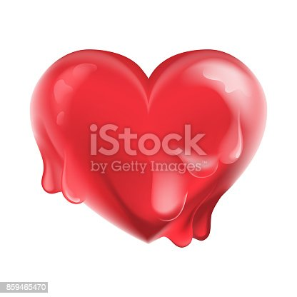 istock Beautiful, cartoon, bright red, shiny and glossy melting heart 859465470