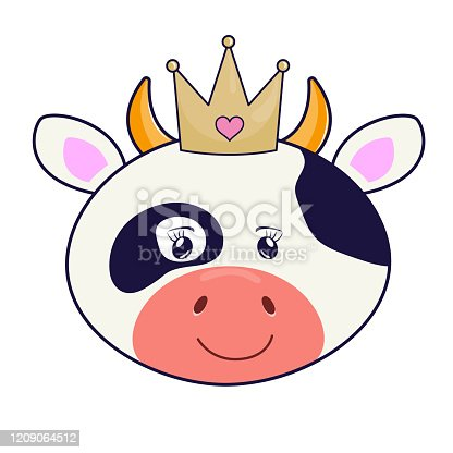Beautiful cartoon cow princess in crown on the white background.