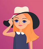Beautiful cartoon girl holding her hat. Character cute illustration.