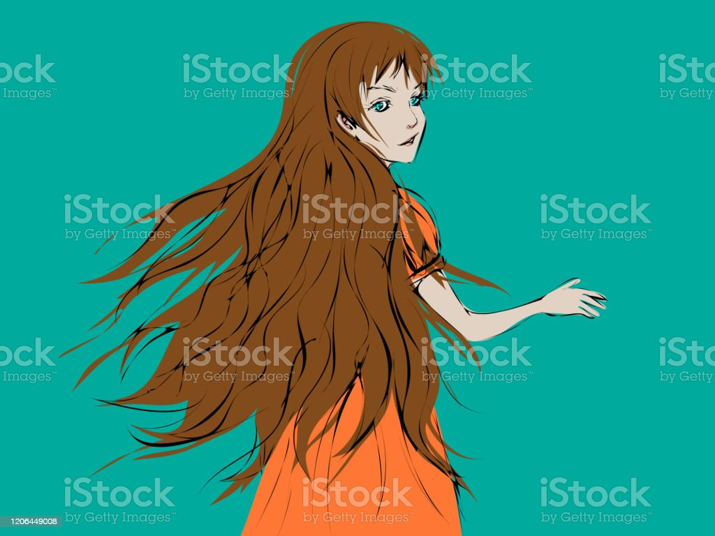 Beautiful Cartoon Girl With Long Light Brown Hair Turning Her Head And Looking Back Stock Illustration Download Image Now Istock