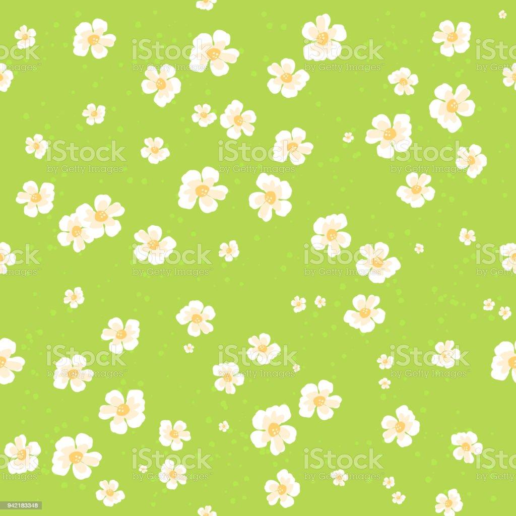 Beautiful Cartoon Grass Field Seamless Pattern With Flowers Daisy